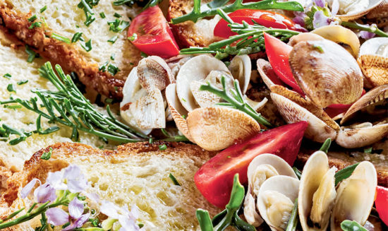 Pan bagnato with clams and arugula